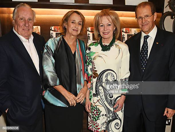 Sandy Molloy Frederick Forsyth Lady Annunziata Asquith and Edouard Ettedgui Group Chief Executive of Mandarin Oriental Hotel Group attend a champagne...