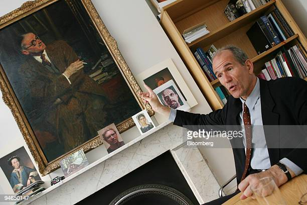 Sandy Nairne director of the National Portrait Gallery refers to JacquesEmile Blanche's portrait of James Joyce during an interview in his office in...