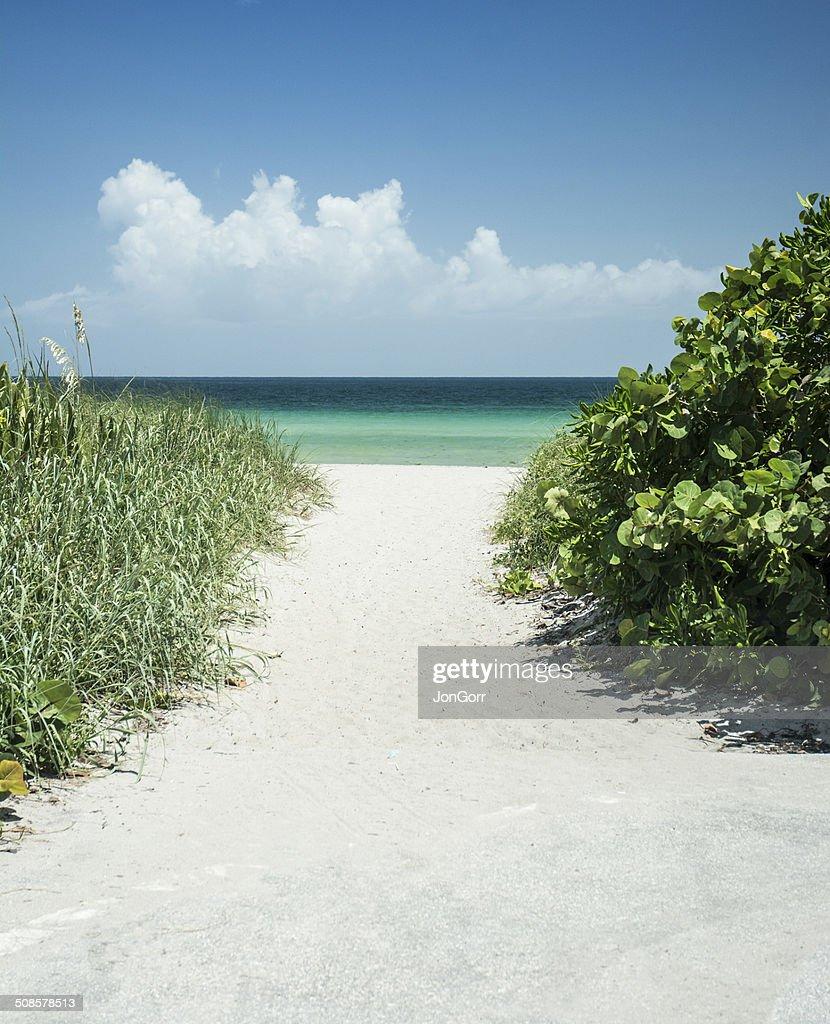 砂浜、海へのアクセスには、ビーチで夏の日 : ストックフォト