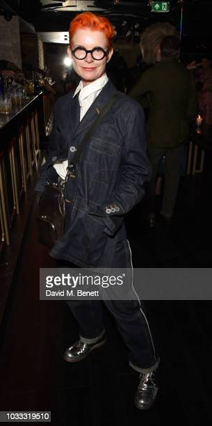 Sandy Powell attends an after party celebrating the Pam Hogg catwalk show during London Fashion Week September 2018 at Kadie's on September 14 2018...