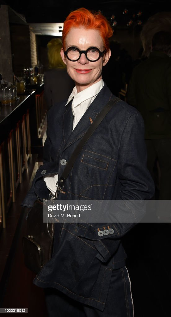 Sandy Powell attends an after party celebrating the Pam Hogg catwalk show during London Fashion Week September 2018 at Kadie's on September 14, 2018 in London, England.