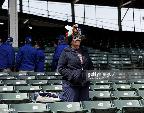 Sandy Sauer wears an Easter bonnet before the game between the Chicago Cubs and the Cincinnati Reds on April 19 2014 at Wrigley Field in Chicago...