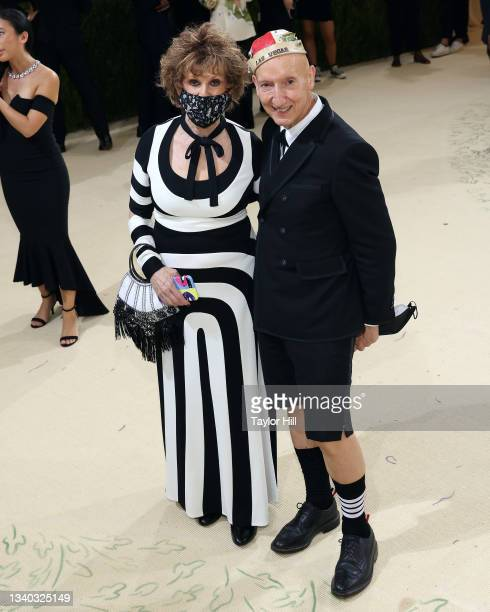 """Sandy Schreier and Stephen Jones attend the 2021 Met Gala benefit """"In America: A Lexicon of Fashion"""" at Metropolitan Museum of Art on September 13,..."""