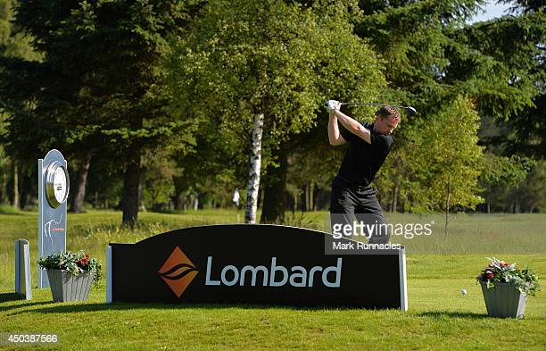 Sandy Smith of Ladybank Golf Club plays his tee shot at the 1st tee during the Lombard Trophy Scotland Regional Qualifier at Ladybank Golf Club on...