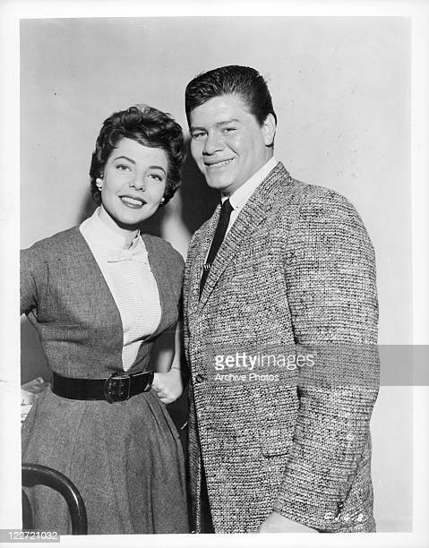 Sandy Stewart And Ritchie Valens stands in portrait in a scene from the film 'Go, Johnny, Go!', 1959.