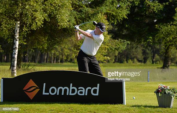 Sandy Strachan of Deer Park Golf Country Club on the first tee during the Lombard Trophy Scotland Regional Qualifier at Ladybank Golf Club on June 10...