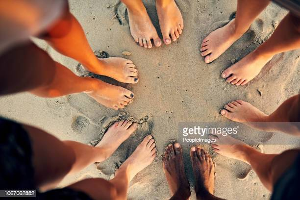sandy toes and salty seas is just what we need - piedi foto e immagini stock