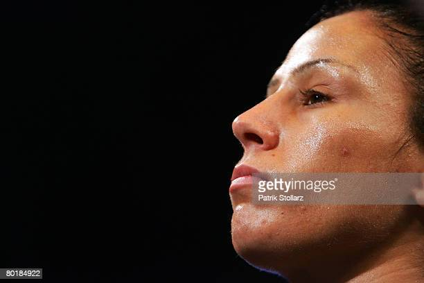 Sandy Tsagouris of Canada pictured during her fight against Ina Menzer of Germany for Featherweight WIBF and WBC World Championship at Koenig Palast...