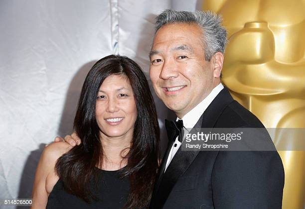 Sandy Tsujihara and chairman and CEO of Warner Bros Entertainment Kevin Tsujihara attend the 88th Annual Academy Awards at Hollywood Highland Center...