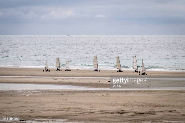 Sandyachting (land sailing) at St Ouen's Bay, Jersey, Channel Islands