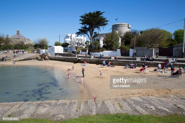 Sandycove Beach on 08th April 2017 in County Dublin Republic of Ireland Sandycove is a popular seaside resort in County Dublin
