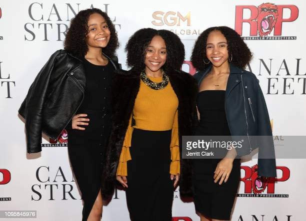 Sa'Nefer Holly Amsara Holly and Ariana Holly of Holly Girlz attend Smith Global Media's World Premiere Of 'Canal Street' at ArcLight Hollywood on...