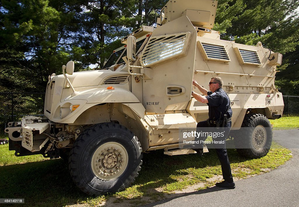 Sanford Police Chief with MRAP Vehicle : News Photo