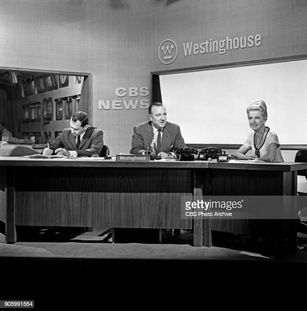 Sanford Socolow, CBS News anchor Walter Cronkite and Spokeswoman for Westinghouse, Betty Furness are photographed while working at the 1960...
