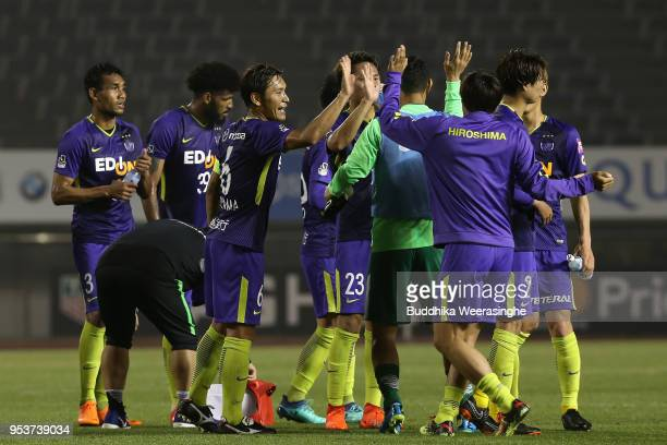 Sanfrecce Hiroshima players celebrate their 20 victory in the JLeague J1 match between Sanfrecce Hiroshima and Shimizu SPulse at Edion Stadium...