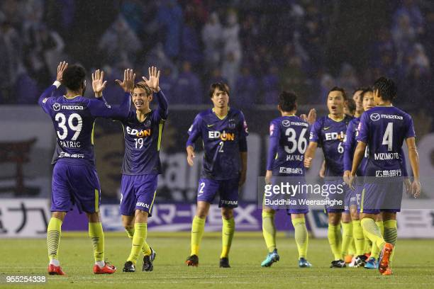 Sanfrecce Hiroshima players celebrate their 20 victory in the JLeague J1 match between Sanfrecce Hiroshima and Vissel Kobe at Edion Stadium Hiroshima...