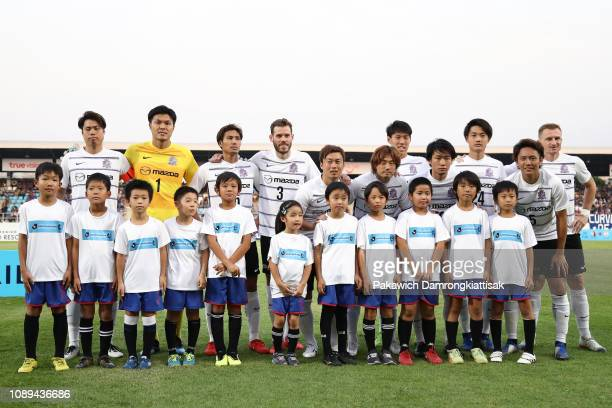 Sanfrecce Hiroshima players line up for the team photos prior to the preseason friendly match between Chonburi FC and Sanfrecce Hiroshima at Chonburi...