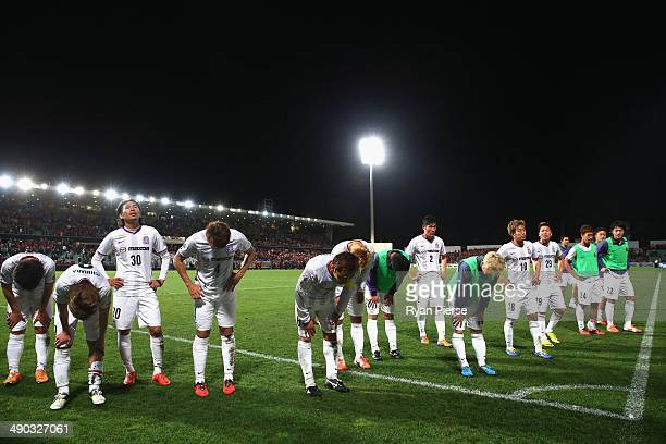 Sanfrecce Hiroshima players look dejected after the AFC Asian Champions League match between the Western Sydney Wanderers and Sanfrecce Hiroshima at...