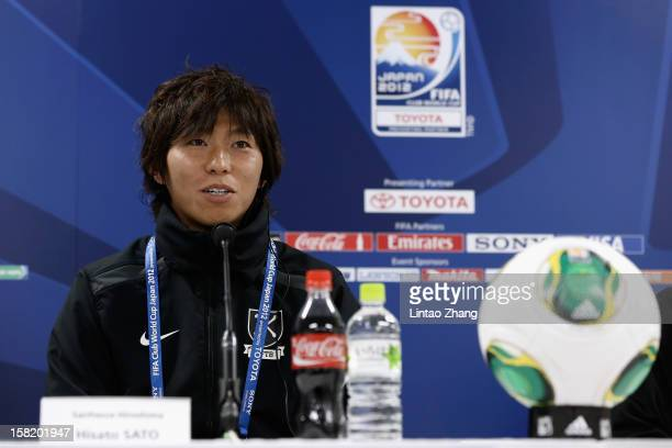 Sanfrecce Hiroshima team captain Hisato Sato answers a question during the Sanfrecce Hiroshima Press Conference at Toyota Stadium on December 11 2012...