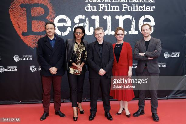 'Sang Neuf' jury's members Chad Chenouga Audrey Pulvar Lucas Belvaux Catherine Frot Malik Zidi attend the closing ceremony photocall for 10th Beaune...