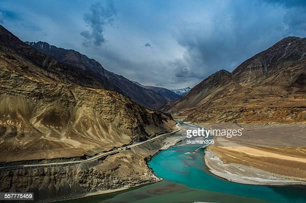 Sangam  Indus and Zanskar Rivers meeting in Leh