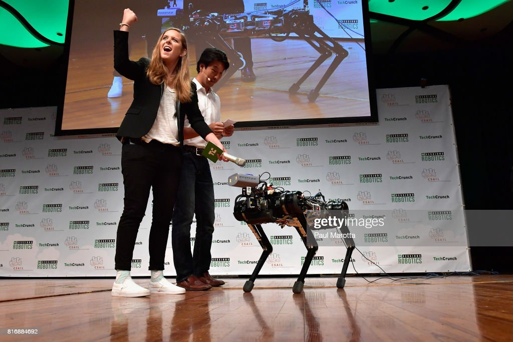 Sangbae Kim gives a demonstration of Cheetah 3 with Jordan Crook at the TechCrunch Sessions: Robotics at Kresge Auditorium on July 17, 2017 in Cambridge, Massachusetts. TechCrunch Sessions: Robotics is a single-day event designed to facilitate in-depth conversation and networking with the technologists, researchers and students of the robotics community as well as the founders and investors and was attended by more than 700 people.