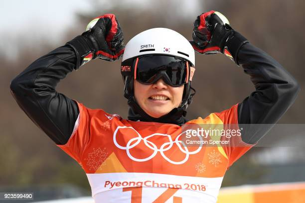 Sangho Lee of Korea celebrates during the Men's Snowboard Parallel Giant Slalom Semifinal on day fifteen of the PyeongChang 2018 Winter Olympic Games...