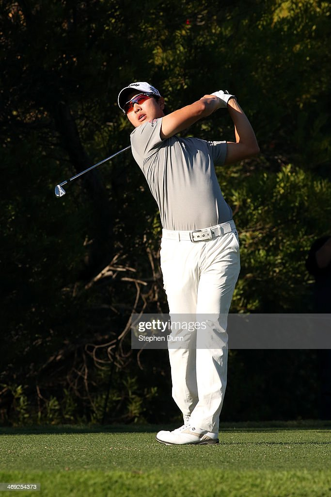 Sang-Moon Bae of Korea hits a tee shot in the first round of the Northern Trust Open at the Riviera Country Club on February 13, 2014 in Pacific Palisades, California.