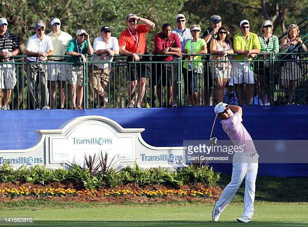 SangMoon Bae of Korea plays a shot on the first playoff hole following the final round of the Transitions Championship at the Innisbrook Resort and...
