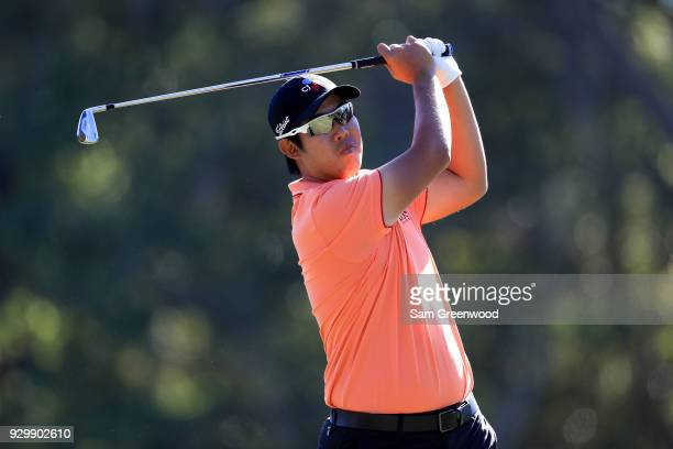 Sangmoon Bae of Korea plays his shot from the 17th tee during the second round of the Valspar Championship at Innisbrook Resort Copperhead Course on...
