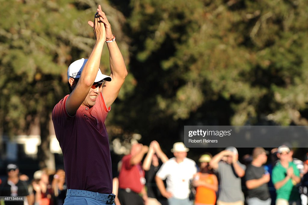 Sang-Moon Bae of South Korea acknowledges the crowd on the 18th green in the final round of the Frys.com Open at Silverado Resort and Spa on October 12, 2014 in Napa, California. Bae would go on to win the tournament at 15 under par.