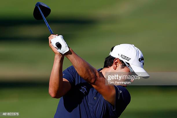 SangMoon Bae of South Korea hits a shot on the first tee during the third round of the Sony Open in Hawaii at Waialae Country Club on January 11 2014...