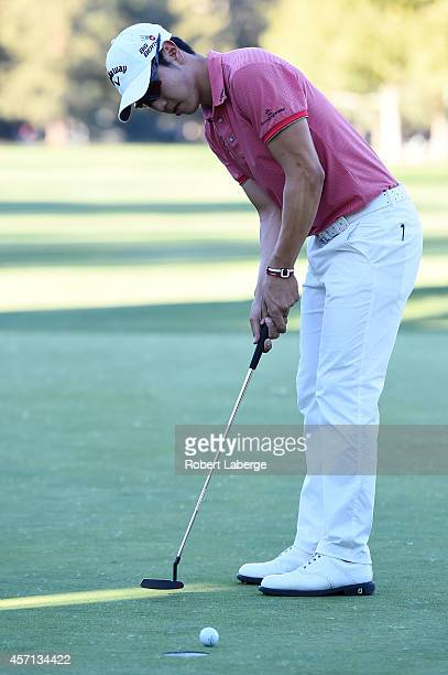 Sang-Moon Bae of South Korea misses a birdie putt on the 18th green in the final round of the Frys.com Open at Silverado Resort and Spa on October...