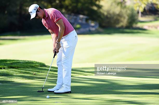 Sang-Moon Bae of South Korea putts on the eighth green during the final round of the Frys.com Open at Silverado Resort and Spa on October 12, 2014 in...