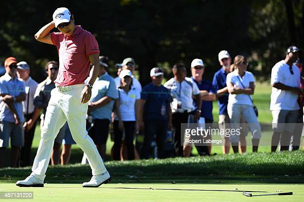 Sang-Moon Bae of South Korea reacts to a missed putt on the sixth green during the final round of the Frys.com Open at Silverado Resort and Spa on...