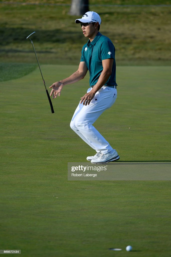 Sangmoon Bae of South Korea reacts to a putt on the 11th green during the first round of the Shriners Hospitals For Children Open at TPC Summerlin on November 2, 2017 in Las Vegas, Nevada.
