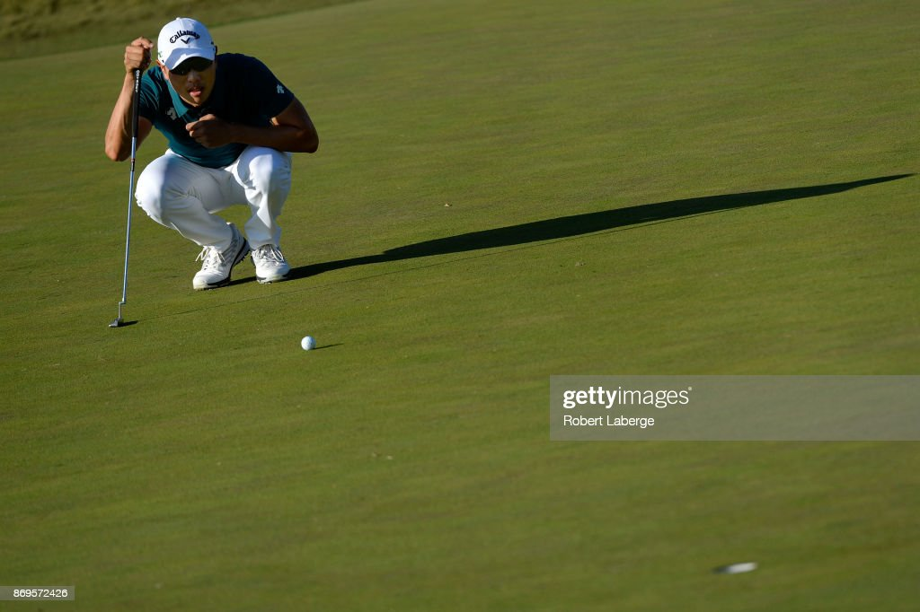 Sangmoon Bae of South Korea reads a putt on the 11th green during the first round of the Shriners Hospitals For Children Open at TPC Summerlin on November 2, 2017 in Las Vegas, Nevada.