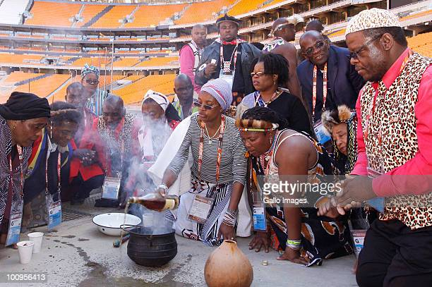 Sangomas perform a cleansing ceremony at Soccer City to make sure there is no evil spirits which will do harm during the Fifa World Cup soccer...