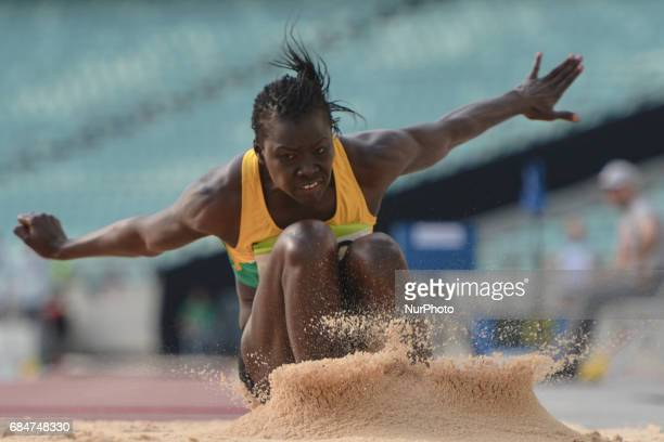 Sangone Kandji of Senegal competes in Women's Long Jump final during an athletic event at Baku 2017 4th Islamic Solidarity Games at Baku Olympic...