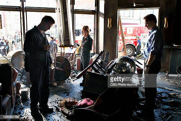 'Sangre Por Sangre' Danny Messer from left Lindsay Monroe Messer and Det Mac Taylor survey the damage done by the explosion on CSINY scheduled to air...