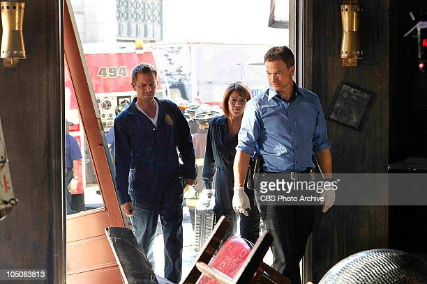 'Sangre Por Sangre' Danny Messer from left Lindsay Monroe Messer and Det Mac Taylor try to find a lead on what caused the explosion on CSINY...