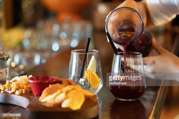 sangria and tapas - appetizer stock pictures, royalty-free photos & images
