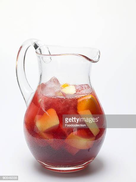 Sangria in jug on white background