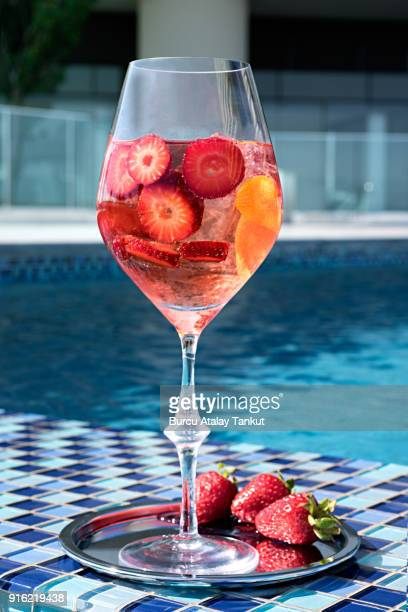 Sangria with Strawberries by the Pool