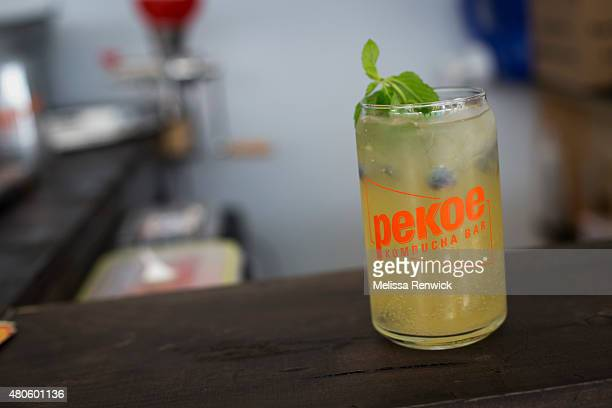 A sangriastyle sunrise oolong kambucha drink is displayed Pekoe Kambucha Bar in the new Union Station outdoor market