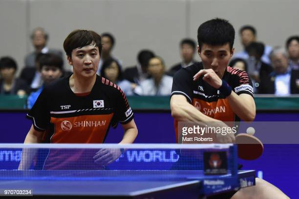 Sangsu Lee and Youngsik Jeoung of South Korea competes against Kai Zhou and Jingkun Liang of China during the men's doubles final on day three of the...