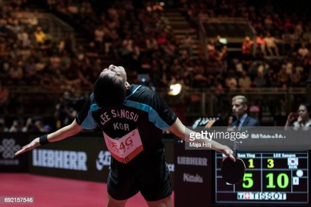 Sangsu Lee of South Korea celebrates after winning Men's Singles quarterfinals at Table Tennis World Championship at at Messe Duesseldorf on June 4,...