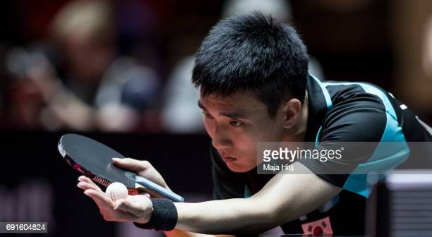 Sangsu Lee of South Korea competes during Men's Singles quarterfinals at Table Tennis World Championship at Messe Duesseldorf on June 2, 2017 in...