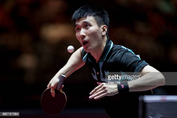 Sangsu Lee of South Korea in action during Men's Singles quarterfinals at Table Tennis World Championship at at Messe Duesseldorf on June 4, 2017 in...
