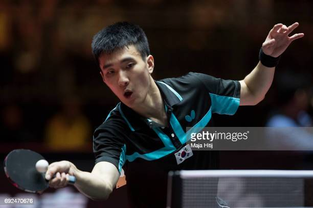Sangsu Lee of South Korea in action during Men's Singles Semifinals at Table Tennis World Championship at Messe Duesseldorf on June 5, 2017 in...